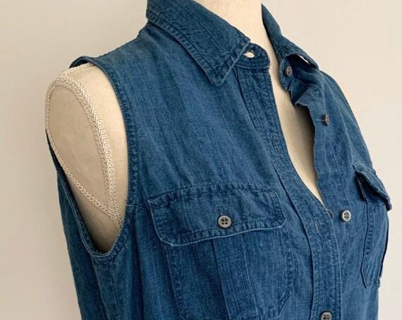 Indigo Linen Shirt Dress Ralph by Ralph Lauren Vintage 90s Sleeveless Button Down Long Maxi Midi Length Blue Denim Jean