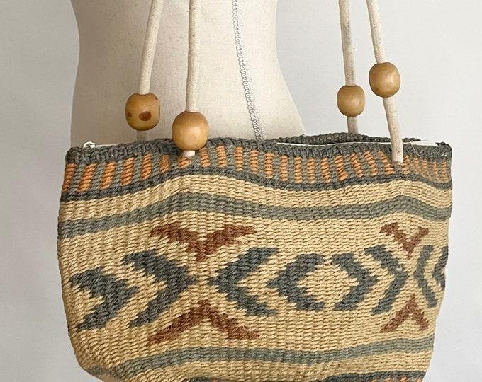 Southwest Sisal Market Bag Wood Bead Detail Cotton Cord Straps Beige Slate Blue Peach Tribal Weave Beach Bag Tote Flax Cotton Lining