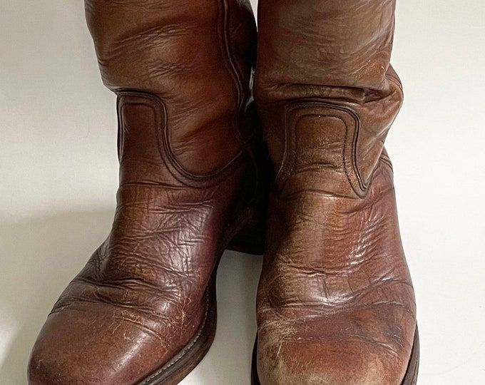 Beat Up Old Frye Boots Vintage Made in USA Men's Boots Worn Distressed Brown Leather Stacked Heel Western Rugged