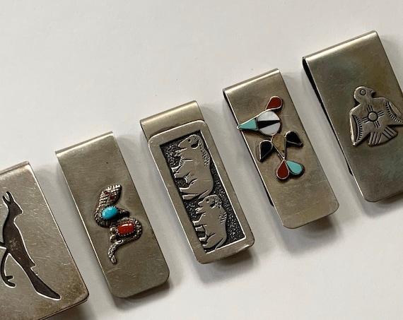 Native American Money Clip Vintage Artisan Handmade Silver Turquoise Thunderbird Buffalo Western Mens Gift