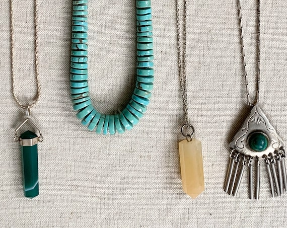 Boho Stackable Handmade Necklace Vintage Artisan Made Crystal Quartz Aventurine Turquoise Malachite Sterling Silver Chains