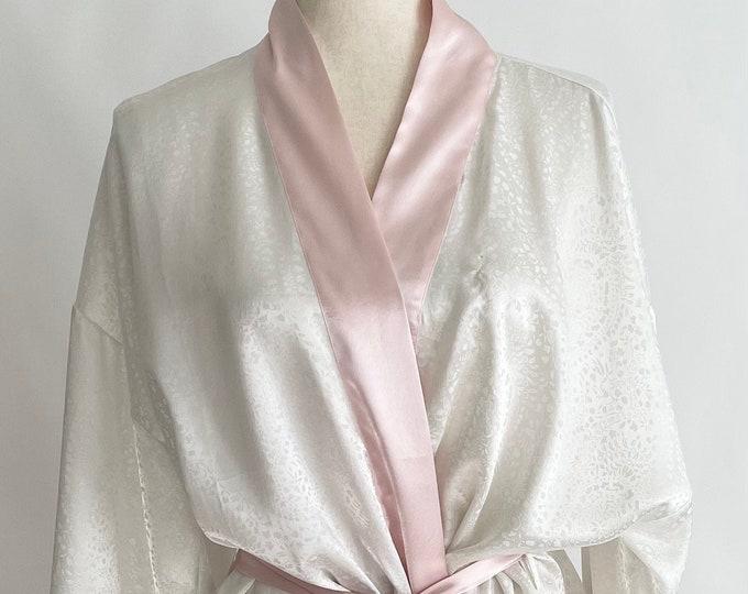 80s Victorias Secret Robe White Dressing Gown Vintage VS Short Length Floral Scroll Weave Tie Waist Size S M