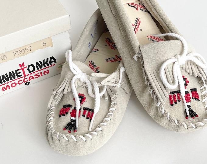 Vintage Minnetonka Moccasins 8 Womens Made in USA New in Original Box Pale Beige Gray Suede Beaded Thunderbird Slip On FlatsShoe Slippers