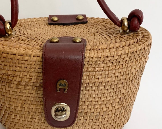 Etienne Aigner Wicker Purse Handmade Straw Basket Bag Oxblood Leather Strap Brass Tone Hardware Tan Cotton Lining Collectible Style