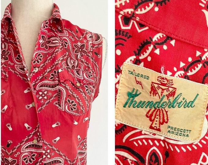 50s Red Bandana Shirt Rare Thunderbird Prescott AZ Sleeveless Cotton Top with Snaps Soft 100% Cotton Boho Western Womens XS