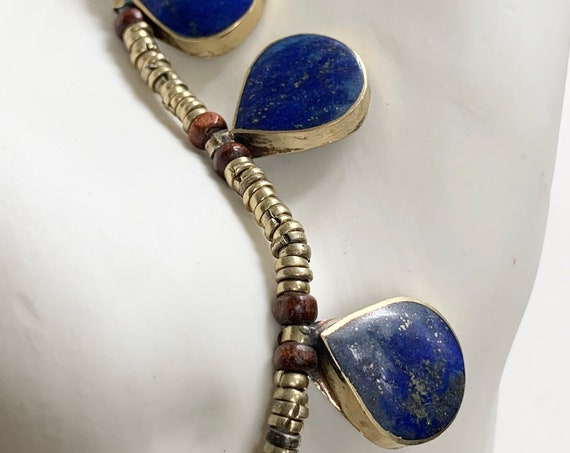 Lapis Brass Bead Necklace Boho Ethnic Vintage Jewelry Teardrop Circle Lapis Lazuli Stones