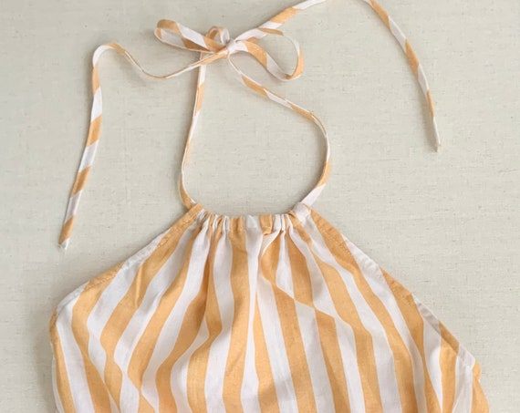 Striped Cotton Romper Playsuit Tie Neck Summer White Burnt Orange Stripes Halter Neck Shorts Women's Size XS S