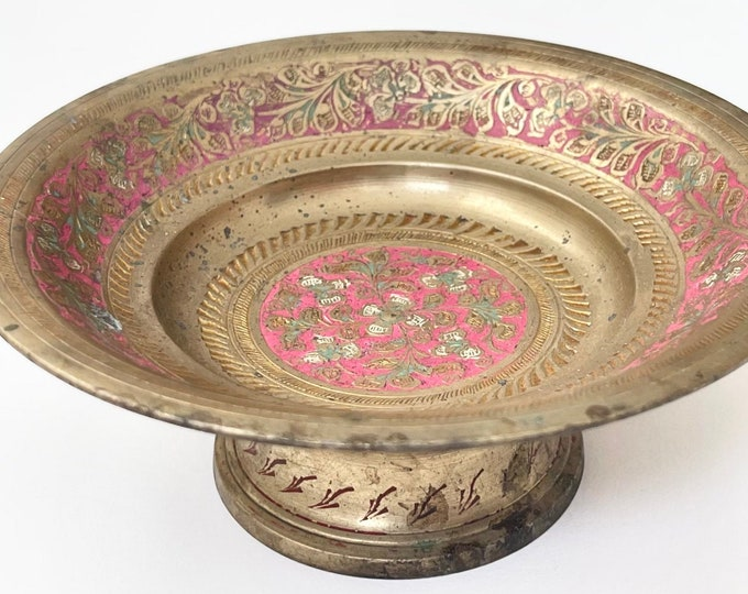 Old Indian Brass Bowl Incense Burner Holder Vintage Painted Floral Flowers Etched Pedestal Dish Made in India Very Aged Patina