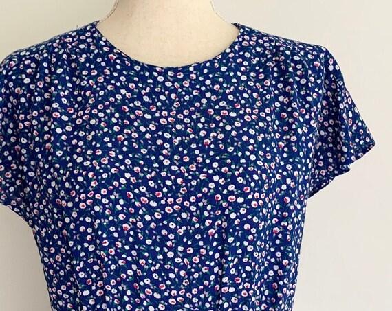 Ditsy Floral Dress Vintage 80s Karin Stevens Blue Flowers Flutter Short Sleeve Ankle Length Easy Fit Size S M