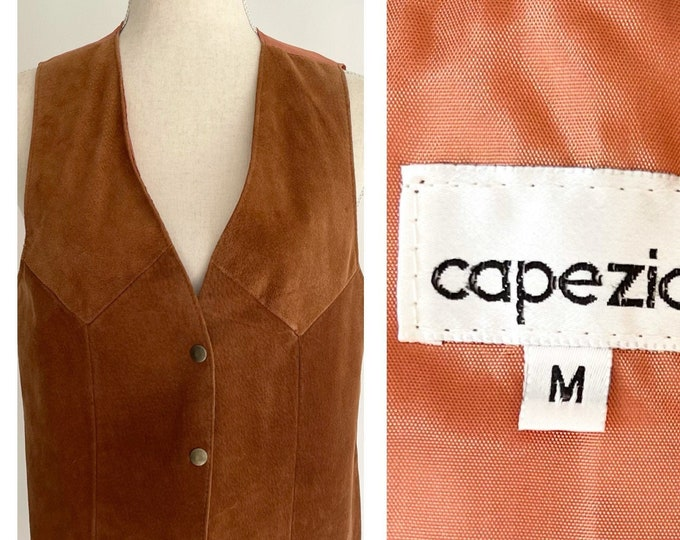 80s Capezio Suede Vest Vintage Tan Brown Suede Leather Fitted Waistcoat Snap Front Fitted Women's Size XS S