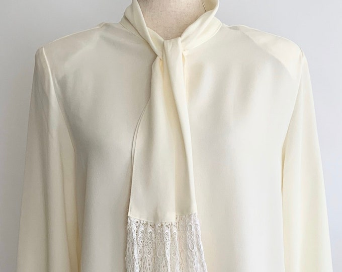 Pussycat Bow Blouse Top Shirt Vintage 80s High Tie Neck Creamy White with Crochet Ties Semi Sheer Shoulder Pads Size S M