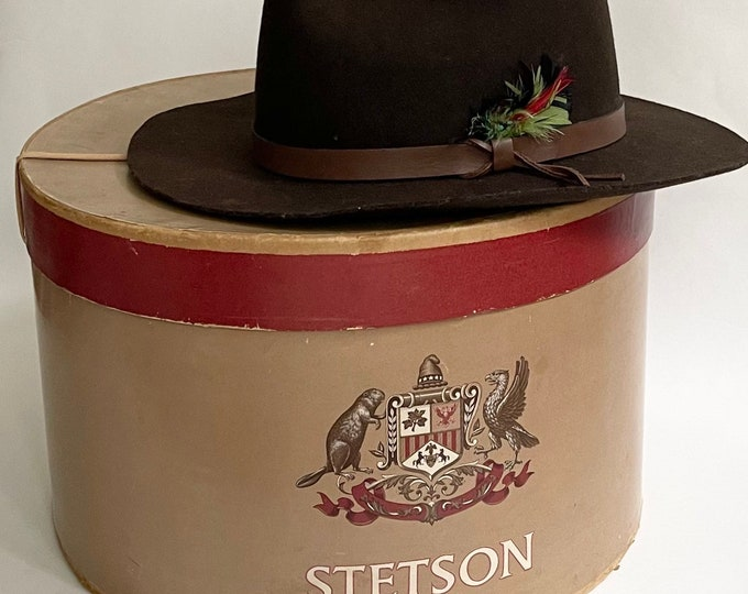 Old Stetson Fedora Cowboy Hat with Hat Box Vintage Stallion by Stetson Dark Taupe Brown Leather Hat Band Feather Detail Mens Hats 7-5/8