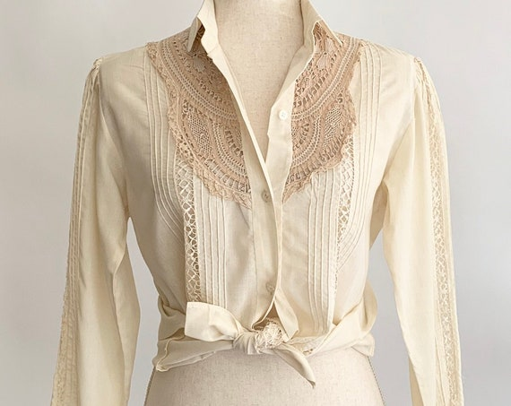 White Crochet Panel Shirt Vintage Handmade Pintucked Details Ivory Cream Beige Button Up Long Sleeve Size XS S