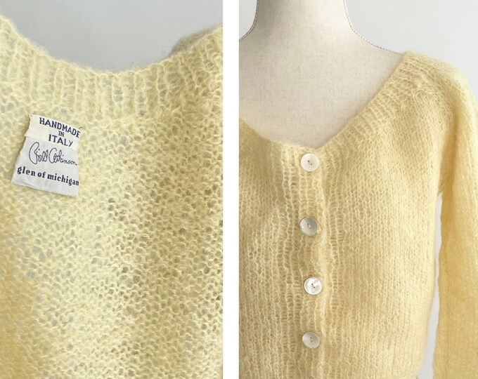 Italian Cropped Cardigan Sweater Handmade in Italy Button Front Fluffy Light Pale Lemon Yellow Vintage 50s S