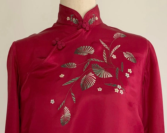 Silky Chinese Bed Jacket Pajama Top Vintage Bloomingdales Lingerie Made in China Silk Blend Cheongsam Embroidered Smoking Jacket