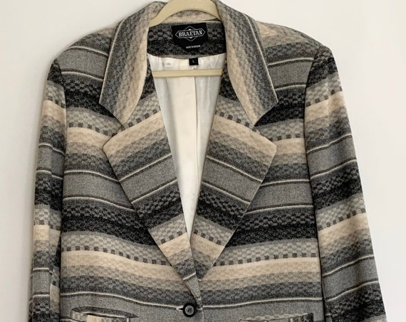 Men's Gray Wool Jacket Coat Southwest Style Beige Charcoal Grey Striped Vintage Made in Ukraine Large L 42 R