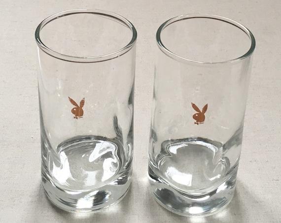 Rare Playboy Water Glasses Tumblers intage Mid Century Cocktail Barware Set of 2 Gold Bunny Hugh Hefner Playboy Club