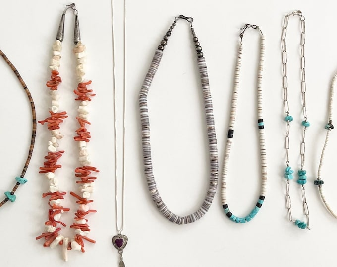 Native American Heishi Necklaces Vintage Shell Turquoise Jet Coral Branch Beads Beaded Choker Necklace Boho Stacking Layering Stack