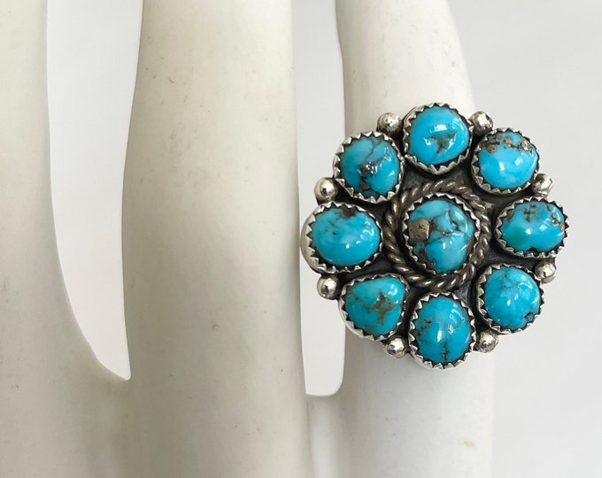 Bright Turquoise Cluster Ring Signed Fred Guerrero Vintage Native American Navajo Sterling Silver Floral Flower Radial Size 8.25