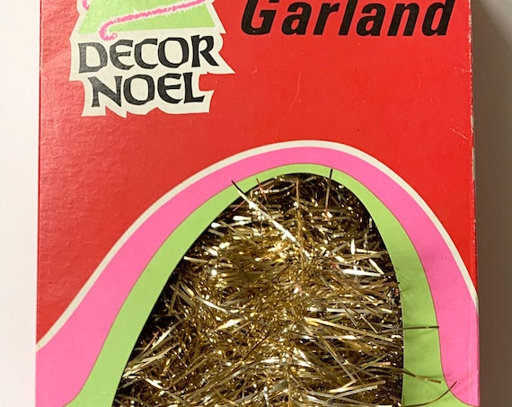 Gold Christmas Tinsel Garland Vintage Mid Century Retro Holiday Christmas Tree Decor Made in USA by Decor Noel