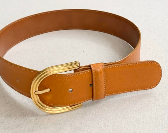 Mark Cross Leather Belt Made in Italy Vintage Designer Leather Goods Belts Embossed Tan Brown Strap Gold Tone Buckle Women's XXS XS