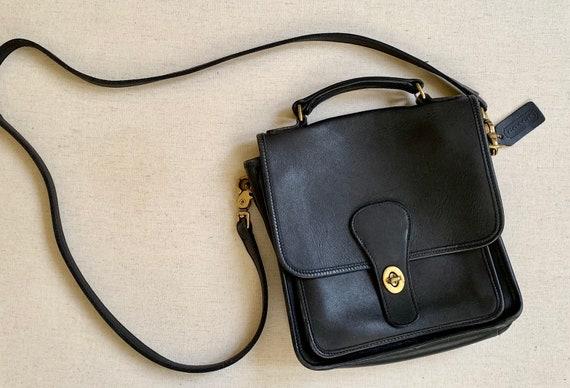 Black Coach Satchel Purse Vintage Handbag Brass Hardware Cross Body Messenger Bag