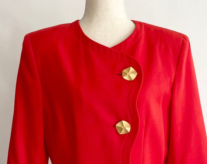 90s Minimalist Red Jacket Blazer Scalloped Asymmetrical Lapel Oversized Gold Buttons Vintage Tomato Red S M
