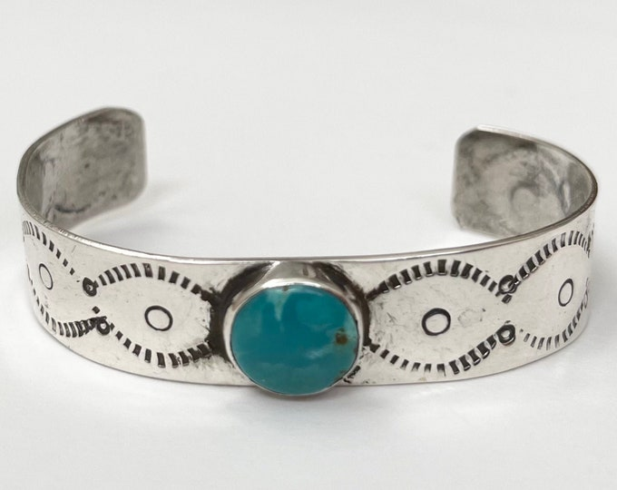 Turquoise Bracelet Cuff Fred Harvey Era Vintage Hand Stamped Sterling Silver Band Native American Jewelry