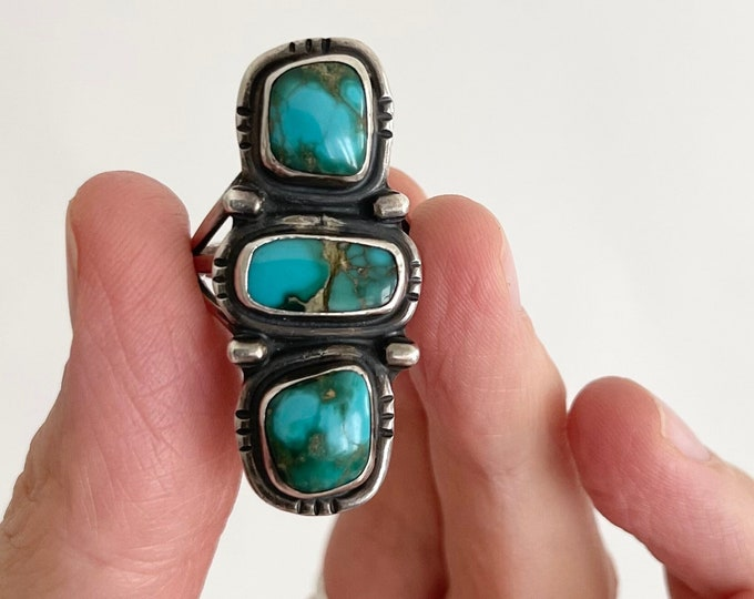 Long Navajo Turquoise Ring Multi Three Triple Stone Vintage Native American Old Pawn Jewelry Sterling Silver Elongated Statement Size 6.75