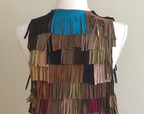 60s Leather Fringe Vest Vintage Colorful Multi Color Patchwork Hippie Folk Music Festival Women's XS S