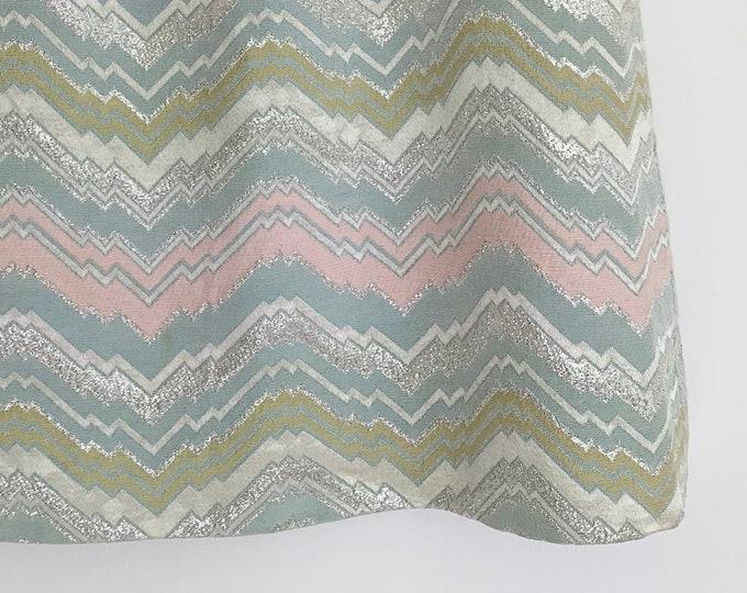Mod 60's Mini Skirt Vintage Lady Manhattan Label Pastel Silver Metallic Zig Zag Chevron Weave Size XXS