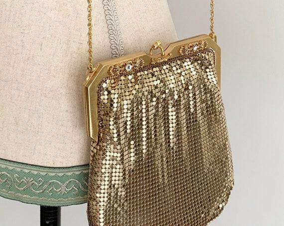 Whiting Davis Mesh Purse Gold Chain Mail Metal Mesh Evening Bag Handbag Vintage Made in USA