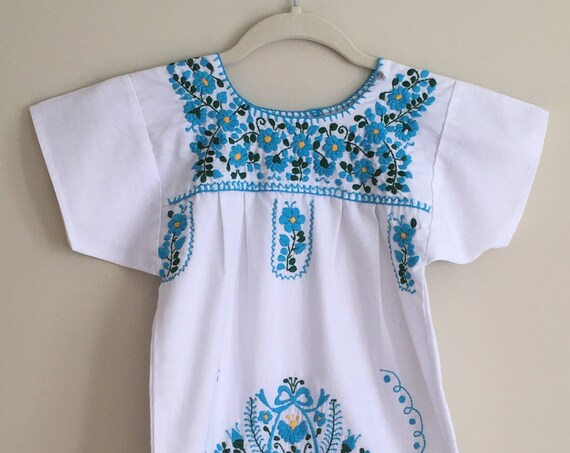 Mexican Embroidered Girl's Dress Vintage 70's White Cotton Summer Beach with Blue and Green Floral Embroidery