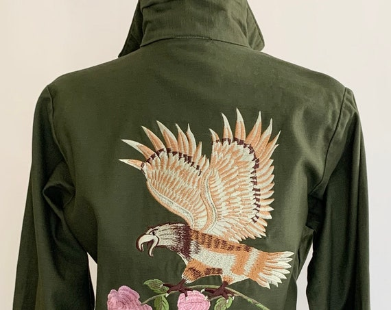 Eagle Embroidered Army Jacket Utility Shirt Dark Green Olive Overcoat Pink Rose Floral Bald Eagle Embroidery Vintage Military Womens Size S
