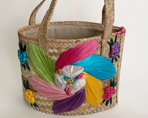 Colorful Floral Straw Bag Purse Tote Top Handle Purse Retro Vintage 70s Summer Fully Lined Small Size