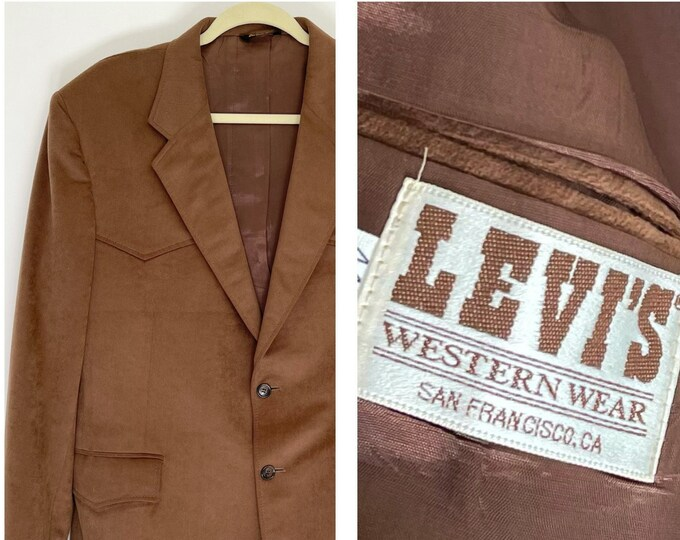 Men's Levis Western Jacket Blazer Vintage 70s Levi's Western Wear San Francisco Soft Brown Ultra Suede