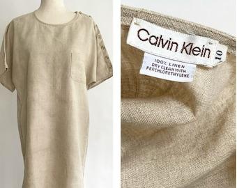 70s Calvin Klein Dress Linen Cotton Easy Fit Dress Kaftan Caftan Vintage Minimalist Style Short Sleeve Beige Brown Button Shoulder S M