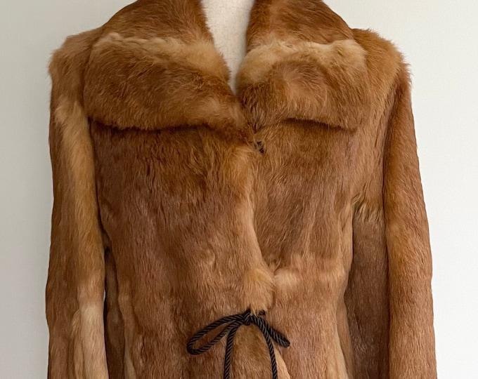 Vintage Rabbit Fur Jacket Coat Vintage 70s 80s Auburn Brown Bunny Fur Tie Waist Collared Satin Lined Size XS