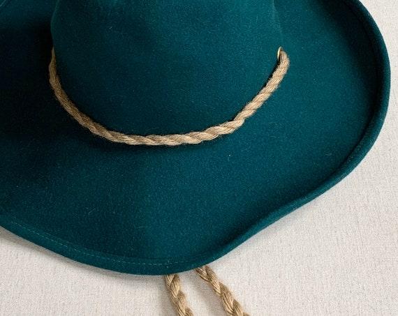 Floppy Felted Wool Hat Cowboy Hat Style Dark Hunter Turquoise Green Braided Hemp Hat Strap Women's Hats Geo W Bollman & Co, Inc