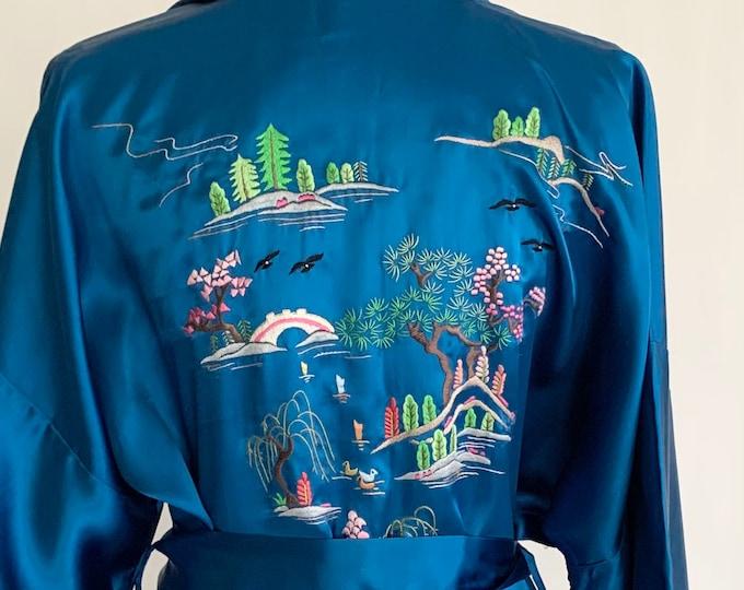Silky Embroidered Chinese Robe Kimono Detachable Belt Vintage Blue Satin Chinese Cheongsam Sleepwear Loungewear