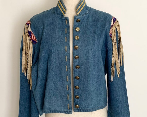 Double D Ranch Jacket Ranchwear Blue Denim Jean Band Jacket Vintage Made in USA Beaded Shoulder Detail Leather Fringe