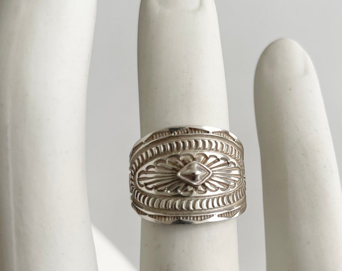 Signed Navajo Cigar Band Ring Vintage Native American Hand Stamped Sterling Silver Very Solidly Crafted Size 7.75
