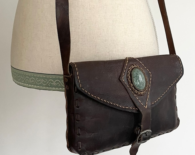 Handmade Western Leather Purse Crossbody Bag Green Turquoise Colored Stone Distressed Dark Brown Leather Boho Hippie Folk