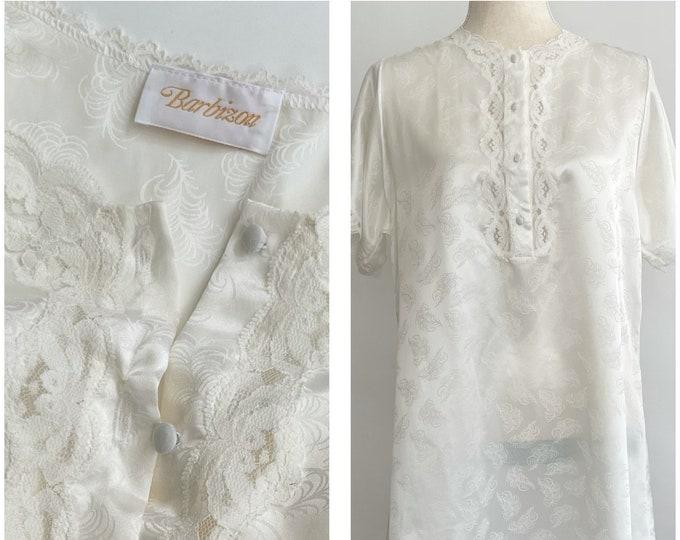 Barbizon Ivory White Nightie Vintage Sleepwear Nightgown Feather Weave Lace Detail Knee Length Semi Sheer Short Sleeve XS
