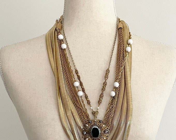 Pick One! Long 80s Gold Necklace Vintage Vintage 70s 80s Gold Tone Costume Jewelry Chain Link Medallion Multi Strand