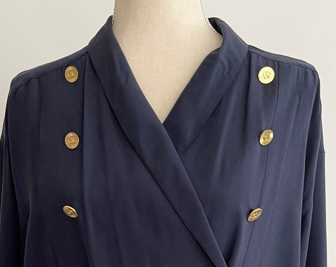 80s Chanel Blouse Shirt CC Embossed Gold Buttons Along Front and Cuffs Vintage French Paris Designer Top Dark Navy Midnight Blue S M