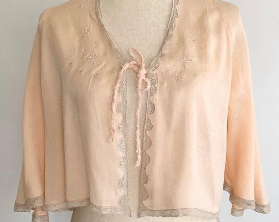 Peach Silk Bed Jacket Vintage 30s Lingerie Sleepwear Beige Lace Trim Floral Embroidery Size XS