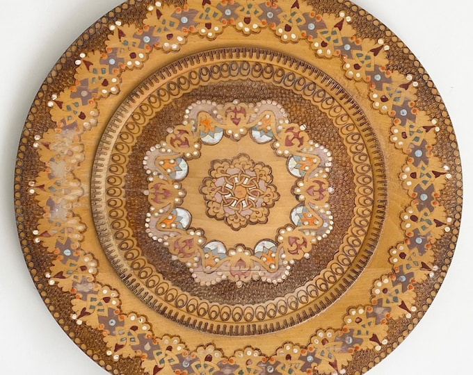 Carved Decorative Wood Tray Plate Platter Vintage Handmade Hand Painted Boho Wall Hanging Wall Decor Wall Art Neutral Beige Brown