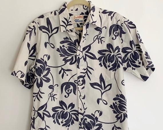 Reyn Spooner Hawaiian Shirt Aloha Tiki Vintage 80s Alfred Shaheen Faded Cotton Blue White Floral Print Made in Hawaii Mens Size L