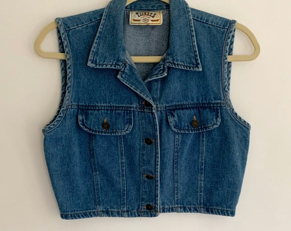 Cropped Denim Jean Vest Sleeveless Jacket Vintage 90s Medium Wash Made in USA XS